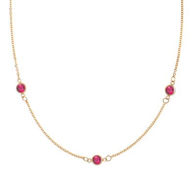 3 Stone Birthstone Necklace 14k Gold with Ruby (July)