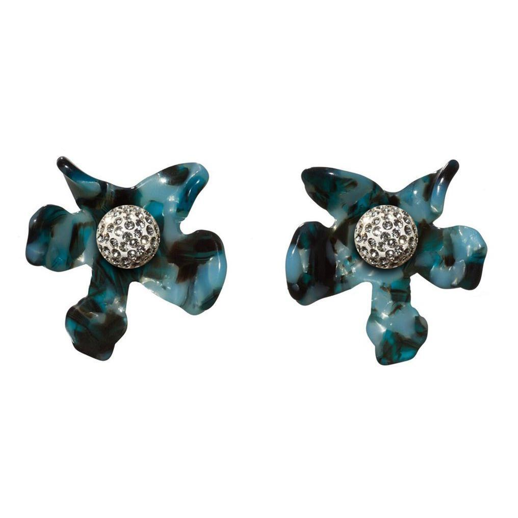 Night Blue Crystal Lily Button Earrings