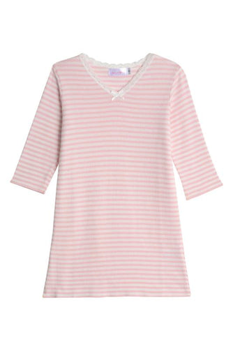 Girls Pink Sailor Stripe Dress V Neck 3/4 Sleeve