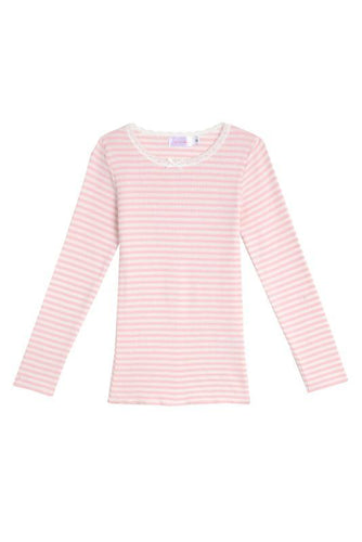 Girls Pink Sailor Stripe Crew LS PJ