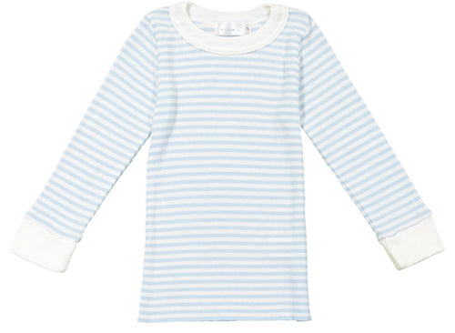 Boys Ocean Blue Sailor Stripe Crew LS PJ
