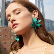 Load image into Gallery viewer, Turquoise Crystal Lily Earrings