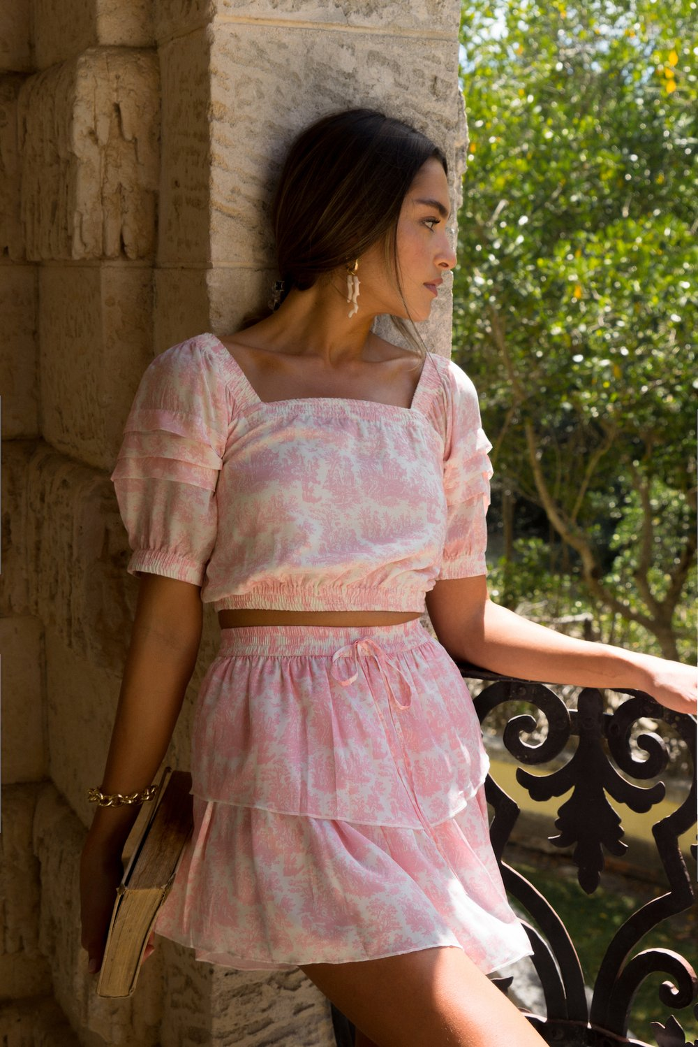 Antigua Skirt (Pink Toile)