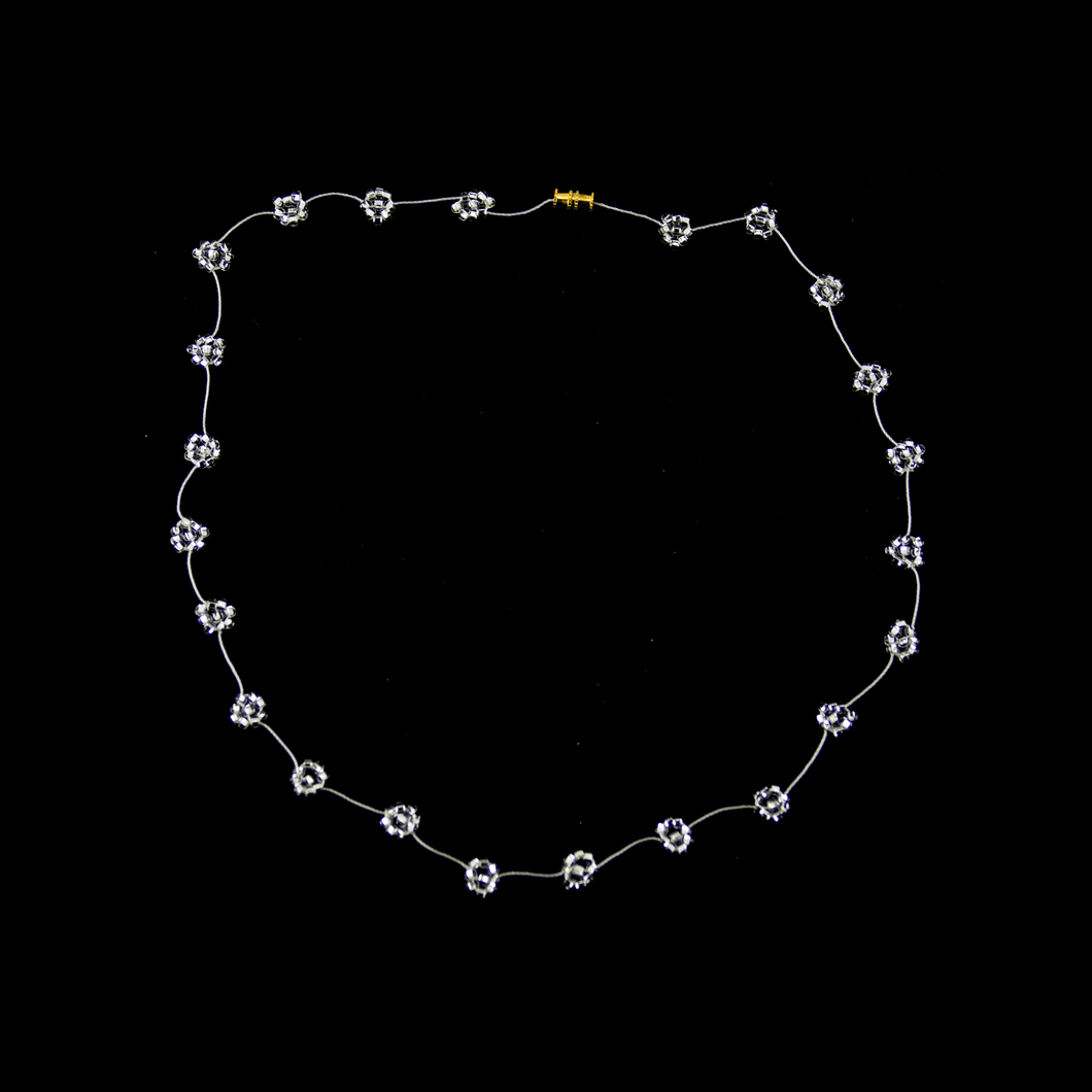 Daisy Chain Necklace in Clear Silver