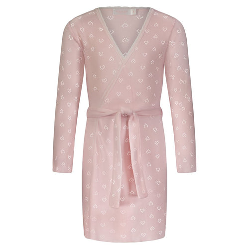 Girls Shell Pink Hearts Pointelle Robe