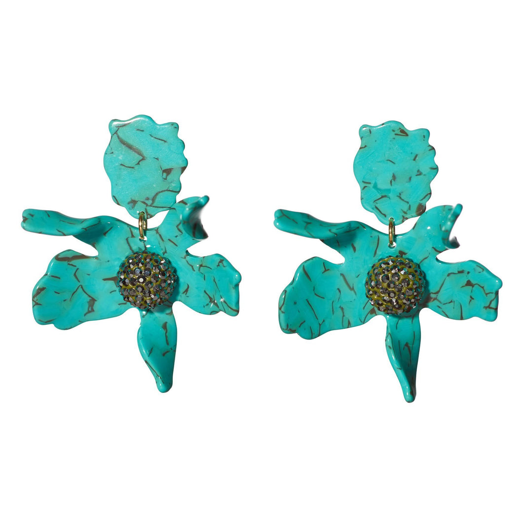 Turquoise Crystal Lily Earrings