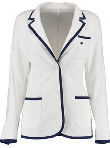 Women's White Terry Cloth Toweling Blazer