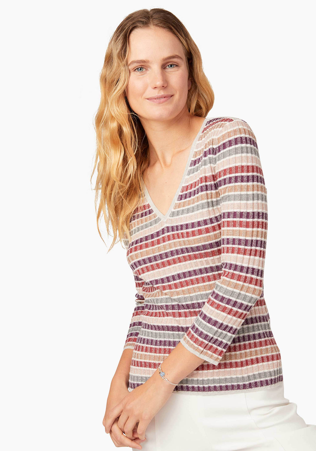 Skinnyminirib Sugarplum Stripe Vneck