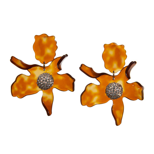 Caramel Crystal Lily Clip On Earrings