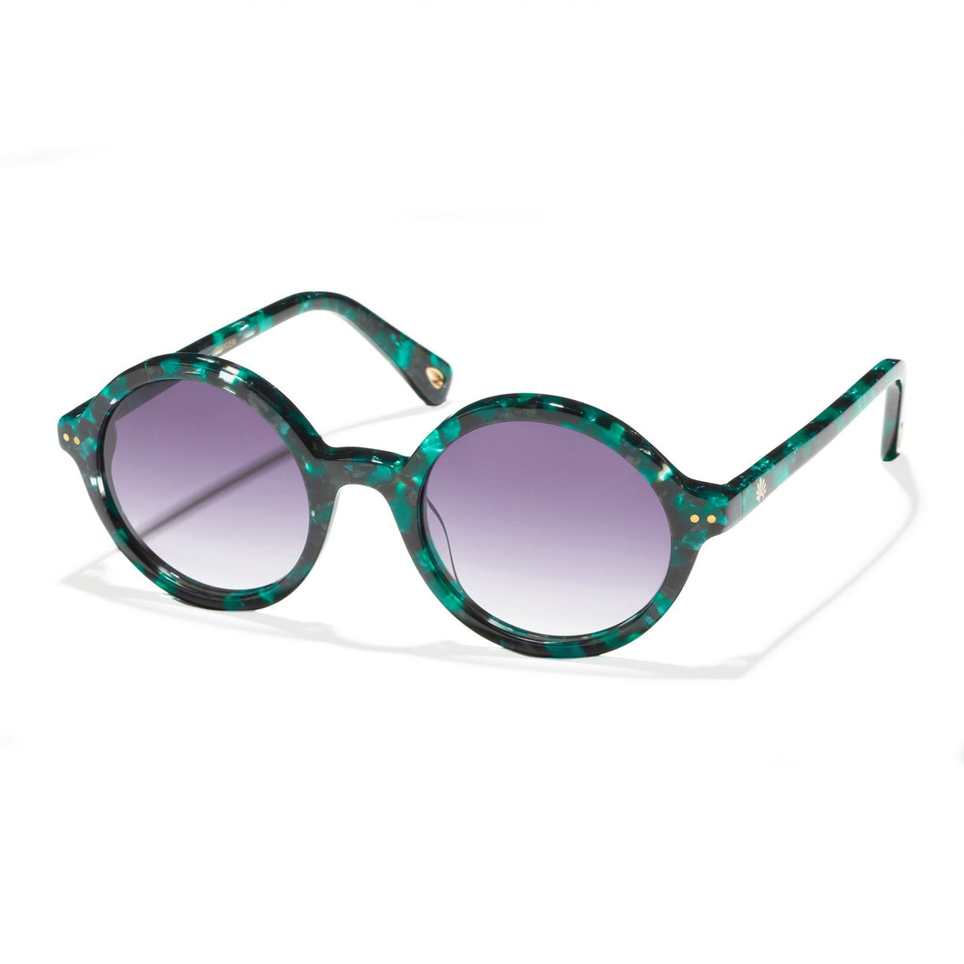 Sunset Blue East Village Round Sunglasses