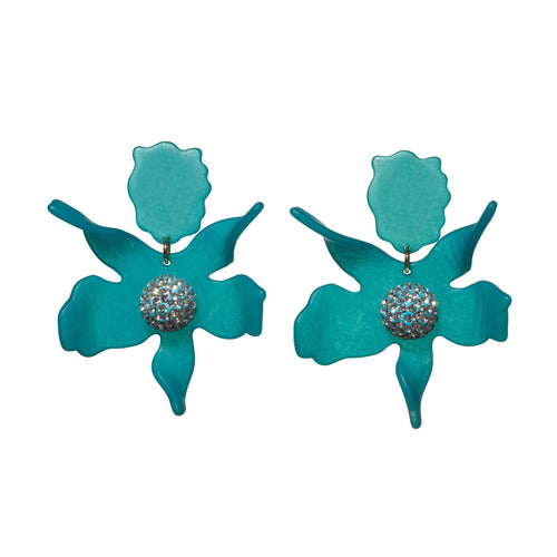 Lagoon Blue Crystal Lily Clip On Earrings