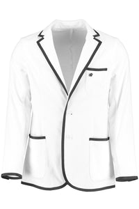 Men's White Toweling Blazer with Black Trim