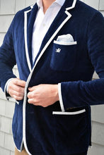 Load image into Gallery viewer, Men's Navy Terry Cloth Toweling Blazer