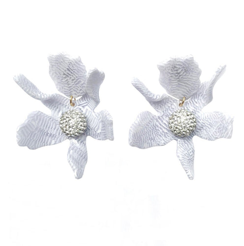 White Sand Crystal Lily Pierced Earrings