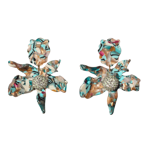 Turquoise Confetti Crystal Lily Earrings