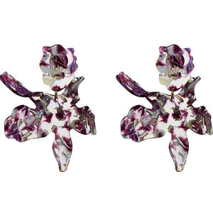 Violet Paper Lily Pierced Earrings