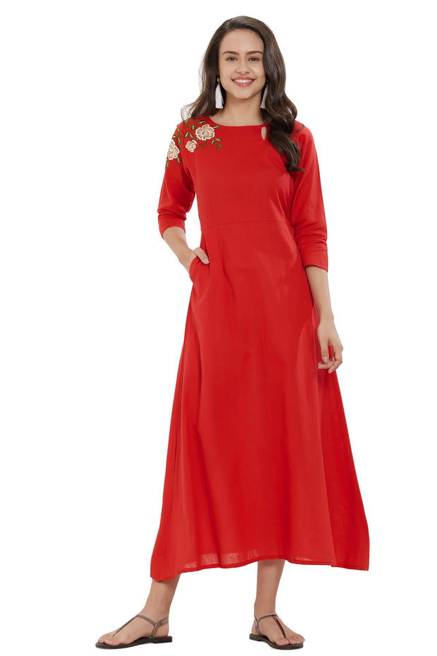 Blended Cotton Embroidery Kurti in Red