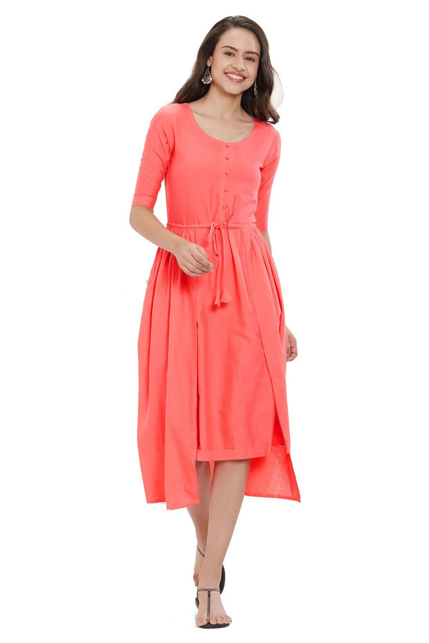 Blended Cotton Solid Kurti in Peach