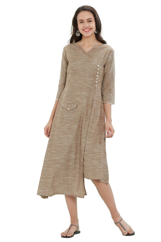 South Cotton Solid Kurti in Beige