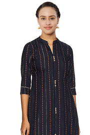 Blended Cotton Printed Kurta Set in Navy Blue