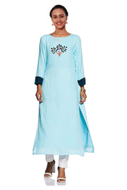 Blended Cotton Embroidered Kurti in Sky Blue