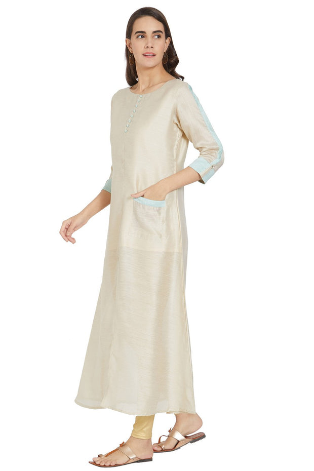 Art Silk Solid Kurti in Cream