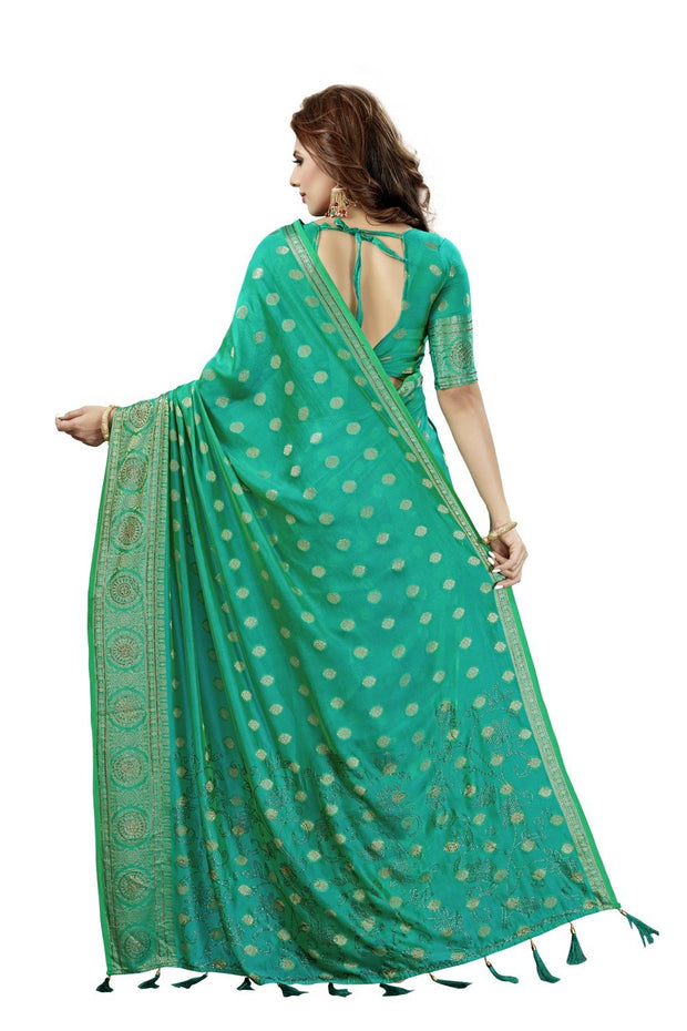 Two Tone Art Silk Weaving Saree in Rama