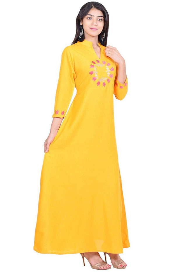 Rayon Kurta in Yellow