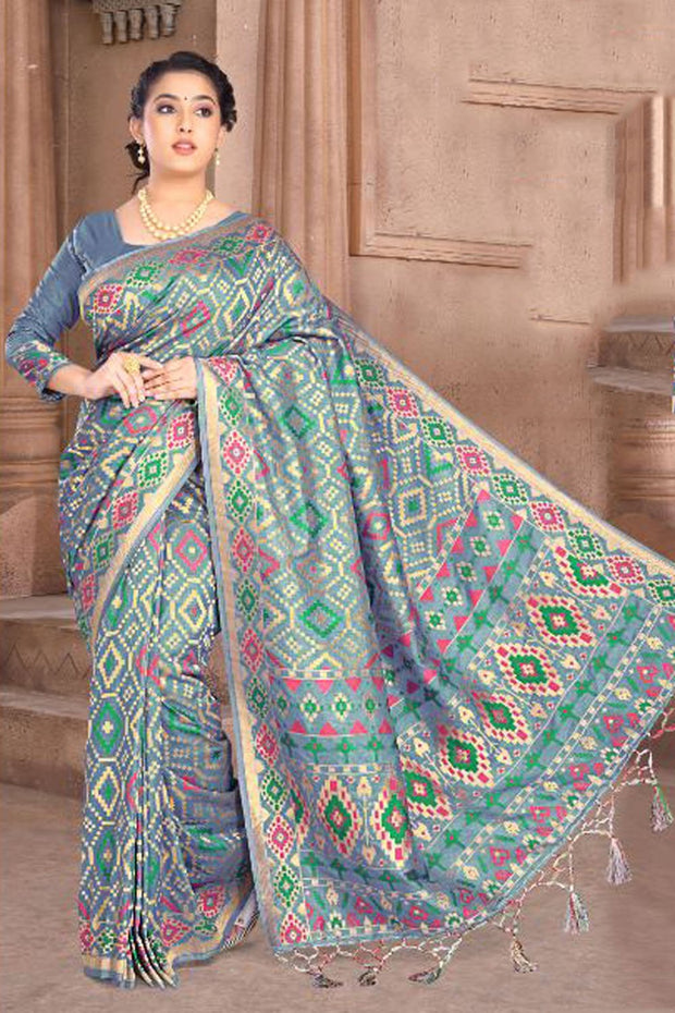 Art Silk Weaving Saree in Grey