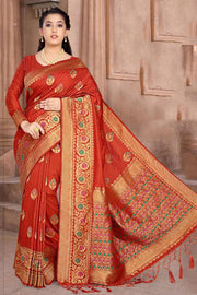 Art Silk Weaving Saree in Red