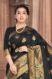 Art Silk Weaving Saree in Black