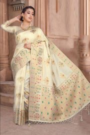 Art Silk Weaving Saree in Off White