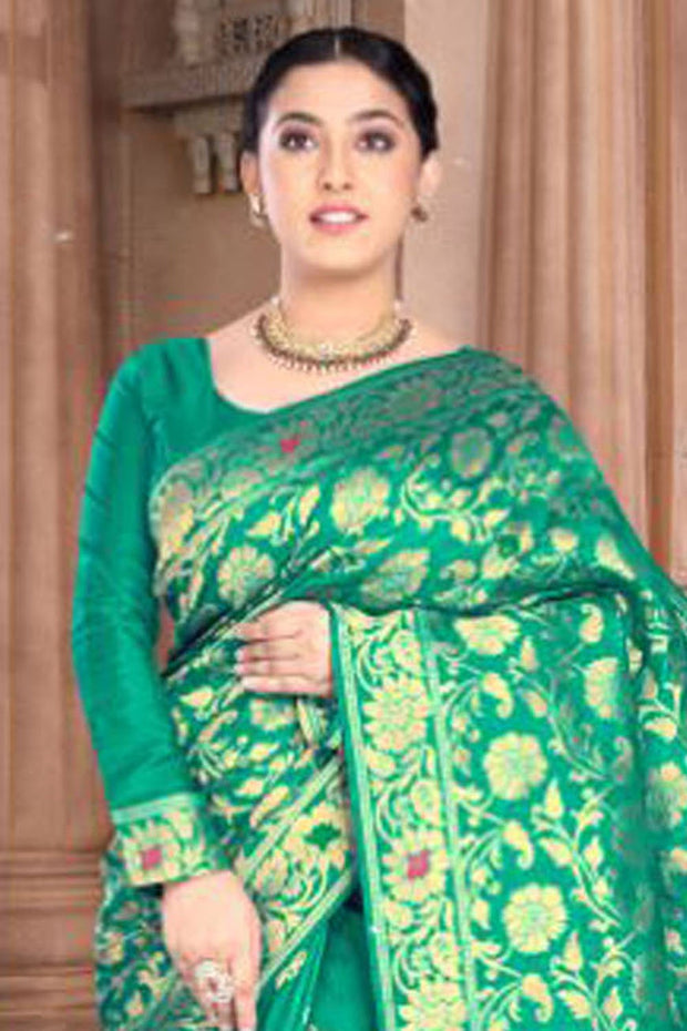 Art Silk Weaving Saree in Green