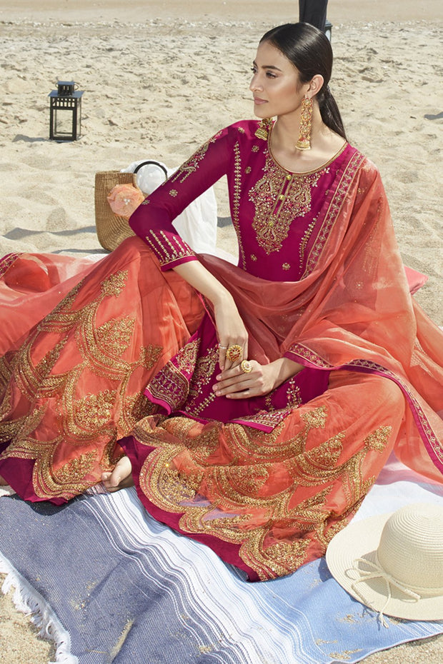 Faux Georgette Embroidered Dress Material in Pink