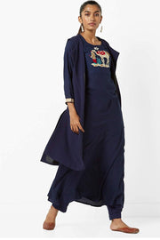 Rayon Long Tunic in Navy