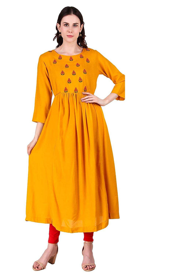 Rayon Long Kurta in Mustard