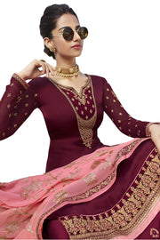 Satin Embroidered Dress Material in Maroon