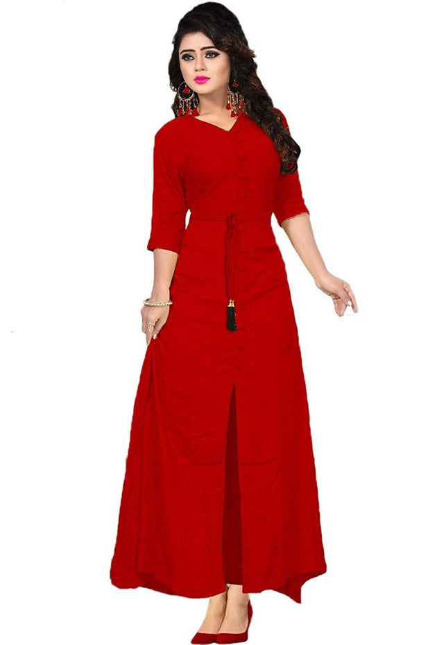 Rayon Dress in Red