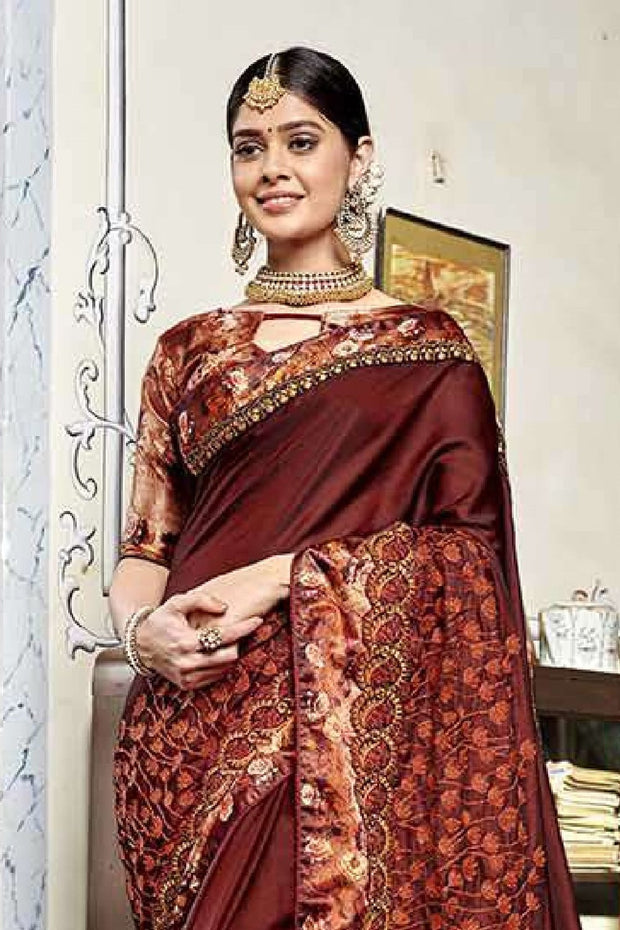 Faux Georgette Saree in Maroon