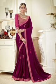 Faux Georgette Saree in Purple
