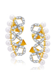 Women's Alloy Ear cuff in Gold and White
