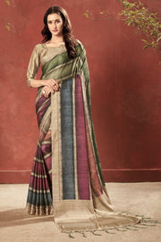 Crape Printed Saree in Beige and Red