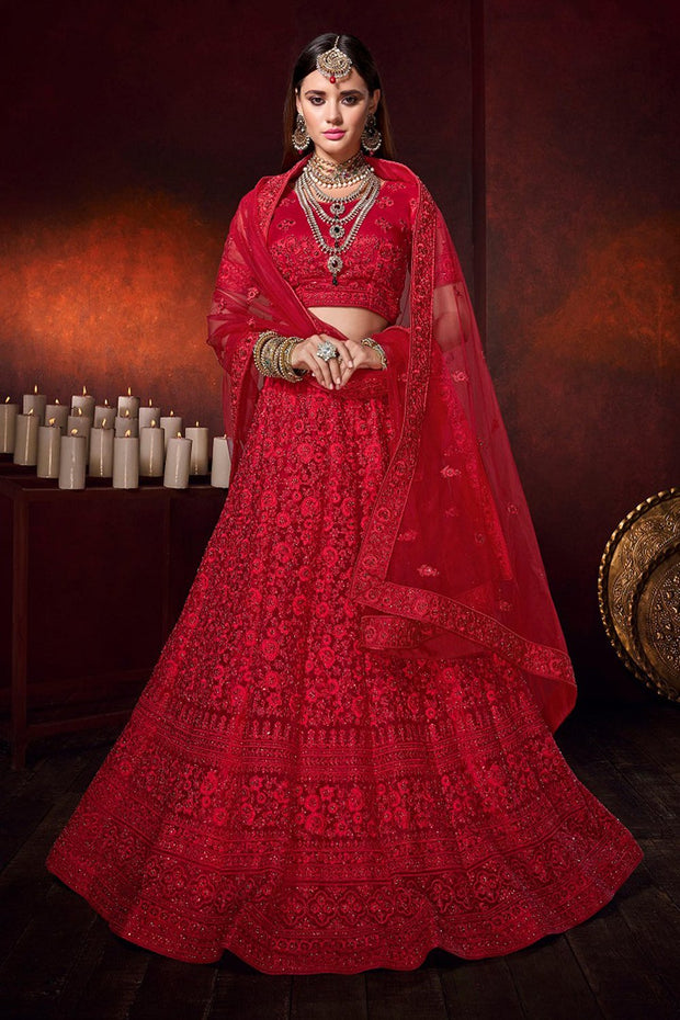 Net Embroidered Lehenga in Red