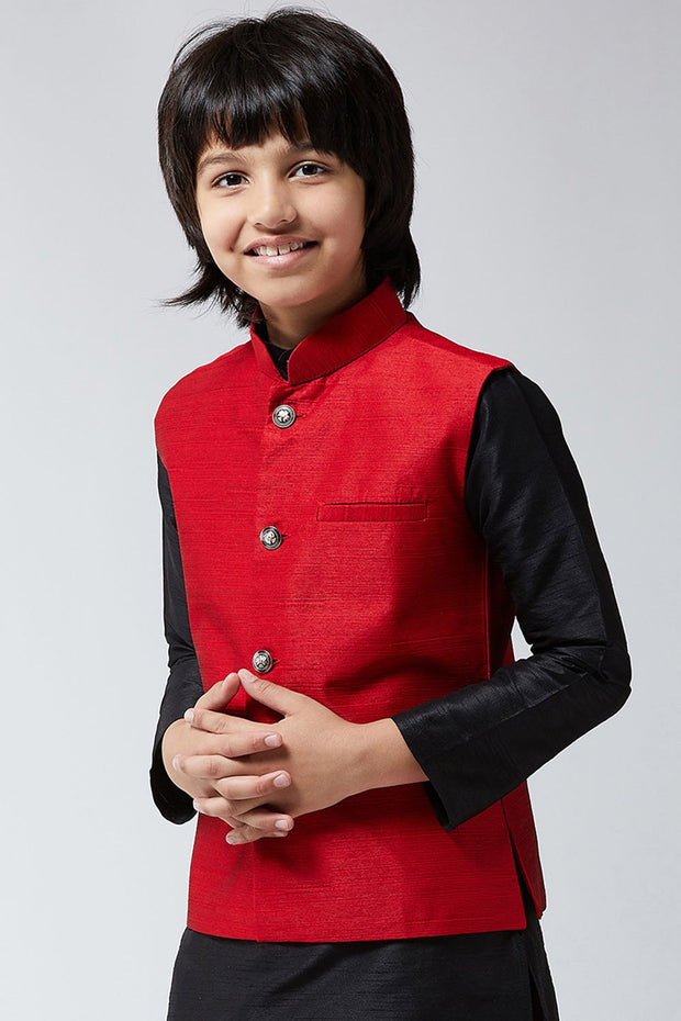 Boy's Dupion Art Silk Nehru Jacket in Black