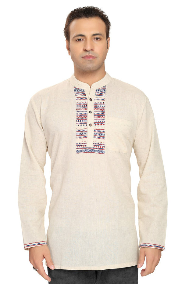 Men's Blended Cotton Short Kurta in Cream
