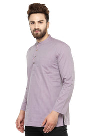 Men's Blended Cotton Short Kurta in Burgundy