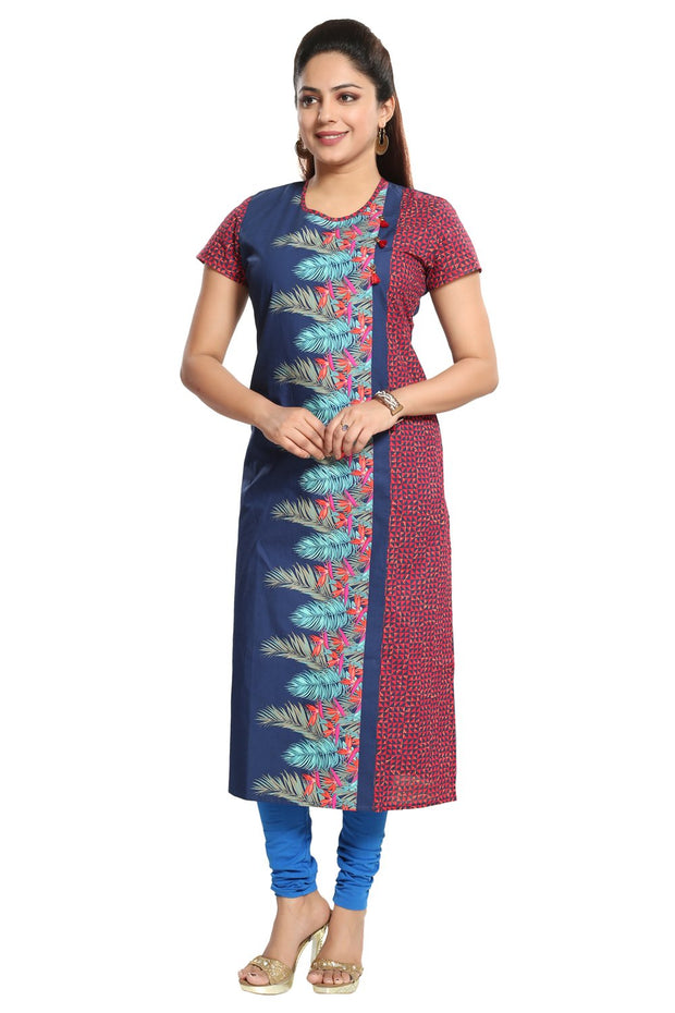 Blended Cotton Kurti in Navy Blue