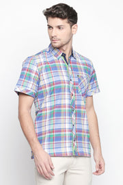 Men's Blended Cotton Shirt in Blue and White and Red