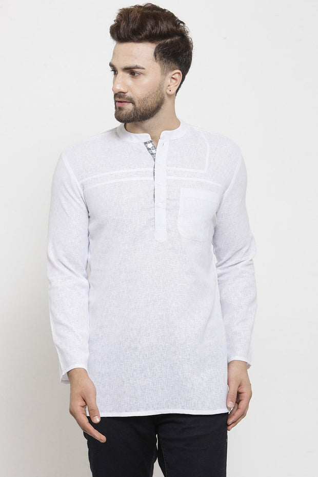 Men's Blended Cotton Short Kurta in White