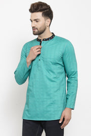 Men's Blended Cotton Short Kurta in Green